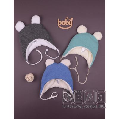 Теплая шапочкас ушками Happy Baby