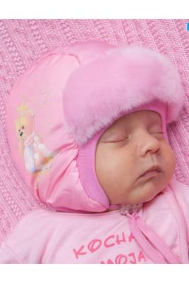 """Шапка для новорожденного """"Мишка"""" розовая ТМ Tutu"""