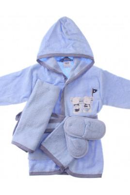 Купить Подарочный махровый комплект Мишутки из 4х халат тапочки полотенце и рукавичка ТМ BiBaby