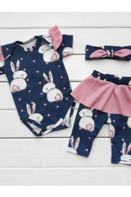 Купить Комплекты боди лосины и повязка для девочки Милые Зайчата ТМ Timki