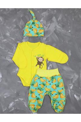 Купить Комплект для роддома и прогулок с боди и ползунками Бананы TM Timki