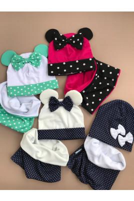 купить комплект набор шапка хомут шапочка снуд для девочки малышки новорожденной