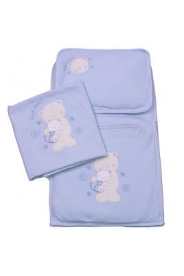 Комплект из 3-х предметов Медвежата голубой ТМ Bibaby