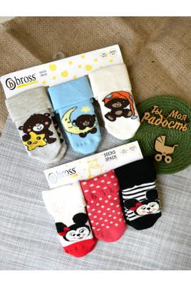 Купить Махровые носочки с прорезиненной подошвой Микки и Мишутка ТМ Bross