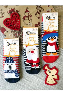Махровые носочки Зима в полосочку ТМ Bross