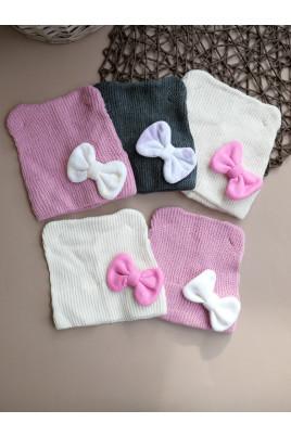 купить шапочку для девочки малышки с бантиком