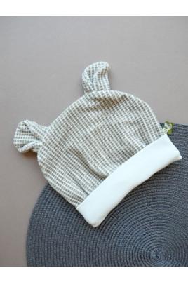 Купить Весенняя шапочка с ушками на подкладе для новорожденных и малышей Bear