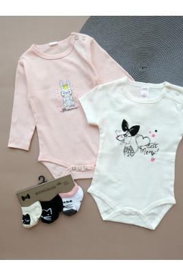 Купить Купить Комплект бодиков с коротким и длинным рукавами для малышей Dino ТМ Breeze
