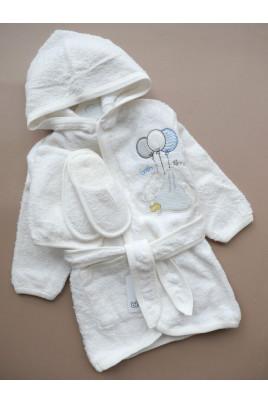 Купить Подарочный махровый комплект Мишка из 3х единиц халат тапочки и рукавичка ТМ BiBaby