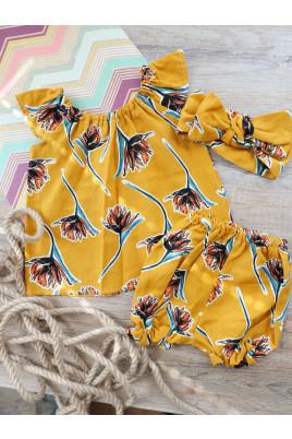 Купить Летний комплект Марьянка для девочки платье шортики и повязка
