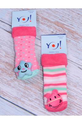 Махровые носки для девочек с игрушкой ТМ Yo, Польша