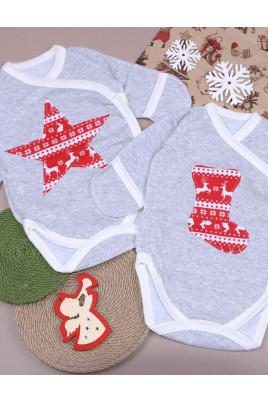 купить боди для новорожденных с Новогодней аппликацией