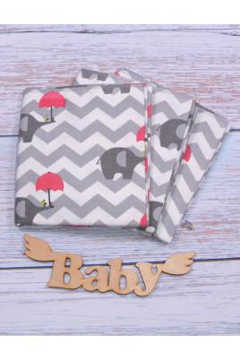 Фланелевая пеленка Слоник с малиновым зонтиком