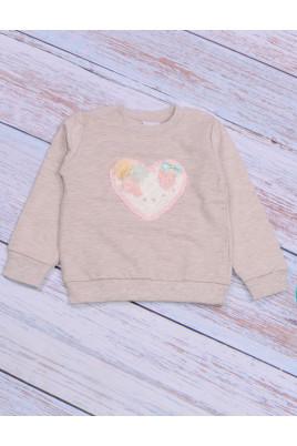 Свитшот для девочки Сердце меланж ТМ Breeze girls