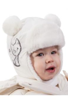 "Шапка ""Cat"" белая ТМ Tutu"