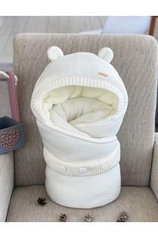 Конверт вязанный для новорожденных Мишутка молочный