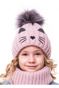 Теплый комплект шапка и хомут для девочки