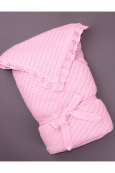 Вязаный конверт-одеяло розовый ТМ Фламинго