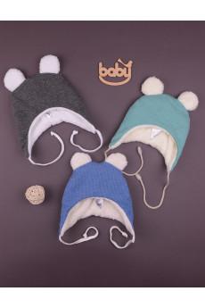 Теплая шапочкас ушками Happy Baby разных цветов