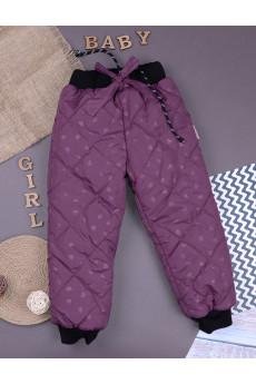 Утепленные штаники для девочки фиолетовые ТМ Одягайко