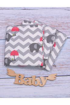 Фланелевая пеленка Слоник с малиновым зонтиком 80*90
