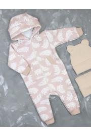 Купить Теплый комбинезон для малыша из трехнити с забавными ушками Листочки TM Timki