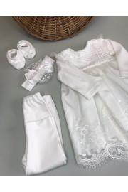 Комплект нарядный Ажур  для малышки с платьем лосинами и пинетками в разных цветах