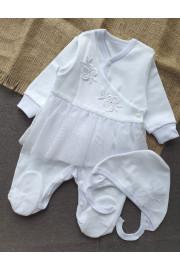 Комплект нарядный новорожденной Цветочек Happy ToT(человечек и шапочка),белый