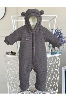 Детский вязанный комбинезон для новорожденного Коричневый Мишутка