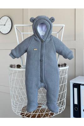 Купить Детский вязанный комбинезон для новорожденного Серый Мишутка
