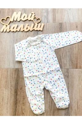 Комбинезон слип с внешними швами для новорожденных Звездочки ТМ Timki
