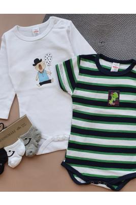 Купить Комплект бодиков с коротким и длинным рукавами для малышей Dino ТМ Breeze