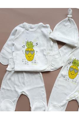 Купить Комплект с распашонкой для новорожденного Ананасик в ажуре ТМ Маленькие люди