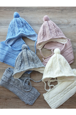 Купить Комплект шапочка на завязках и шарфик для малышей Гармония ТМ Фламинго