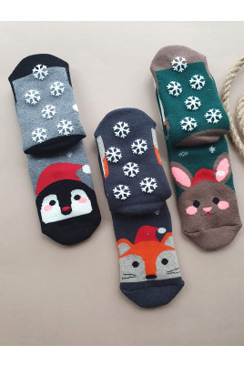Купить Махровые носочки Happy c антискользящим рисунком ТМ Bross, Турция