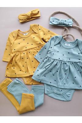 Купить Комплект для девочки боди-платье лосины и повязка Эмми