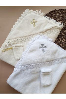 Крыжма для крещения малыша Нежность махра, молочная и белая