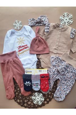 Купить Комплект в роддом №9 из 9 предметов для девочки Новорічна сніжінка