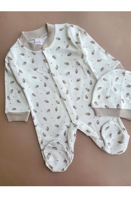 Комплект для новрожденных с шапочкой Листочки,Breeze Турция