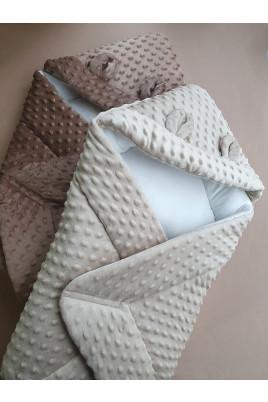 Конверт-одеяло с капюшоном Медвежонок ,цвета коричневый и беж