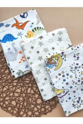 Купить Пеленки для новорожденных Stars and Dino, 110х90 фланель