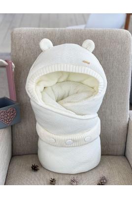 Купить Конверт вязанный для новорожденных Мишутка молочный
