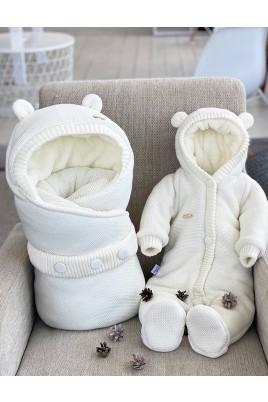 Купить Комплект конверт и комбинезон на выписку для новорожденного Молочный мишутка
