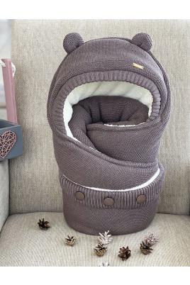 Конверт вязанный для новорожденных Мишутка коричневый