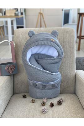 Купить Конверт вязанный для новорожденных Серый мишутка