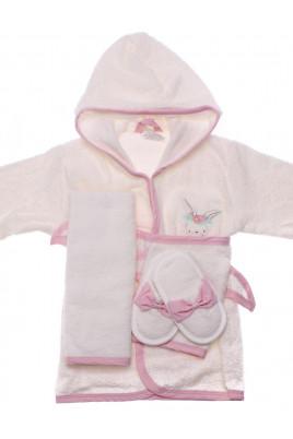 Купить Подарочный махровый комплект Bunny из 4х халат тапочки полотенце и рукавичка ТМ BiBaby