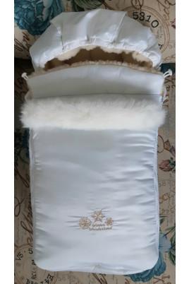 Конверт зимний на овчине, белый