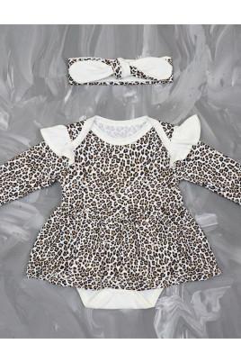 Купить Боди-платье для девочки с повязкой Леопард ТМ Timki