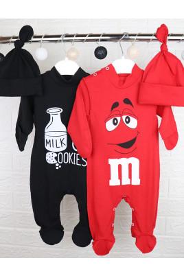 Купить Яркий стильный комплект 2 человечка и 2 шапочки M&M and Milk ТМ Timki
