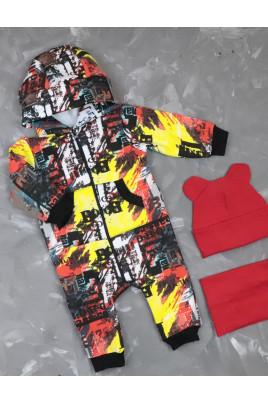 Купить Теплый комбинезон для малыша из трехнити с забавными ушками Абстракция TM Timki